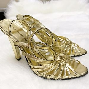 BCBGMAXAZRIA Gold Strappy Lace Up Heels 7